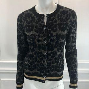 Marc Jacobs S Cardigan Sweater Black Metallic E5